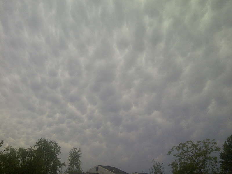 Photo: bubble clouds after the storm, hard to see though with my crappy camera.
