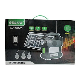 Kit solar GD1000A cu lanterna LED, 3 becuri, panou si USB