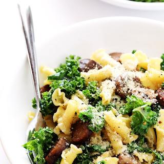 Pasta with Italian Sausage, Kale and Mushrooms.