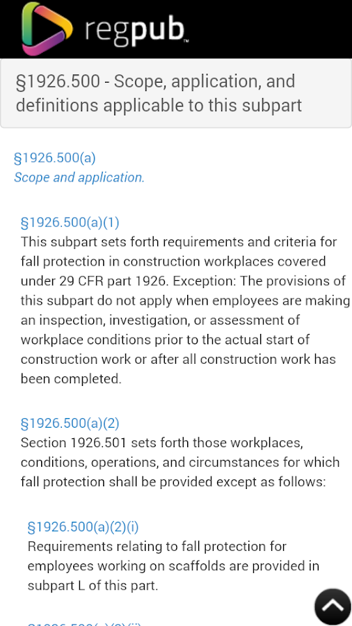 Fall protection reference guide subpart m