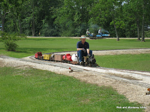 Photo: Phillip Bell and his narrow gauge train.  HALS-SLWS 2009-0523