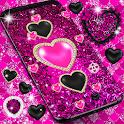 Black pink glitter live wallpaper icon