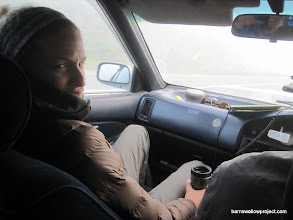 Photo: Liz's apparel for being IN the car one morning in MID-JULY in Siberia...bundle up