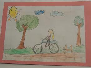 """Photo: praca Malwiny """" Jeździmy rowerem bo ... jest szybciej """""""