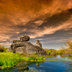 Castle Rocks with sky drama by Charles Knowles - Landscapes Mountains & Hills