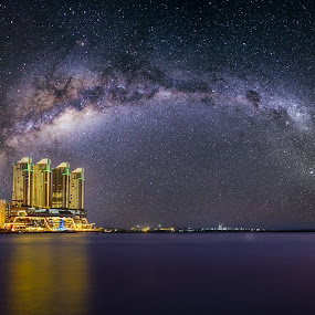 Serenity by Alexander Nainggolan - Landscapes Starscapes ( milkyway, north jakarta, pantai mutiara, night photography, indonesia, starscapes, jakarta,  )