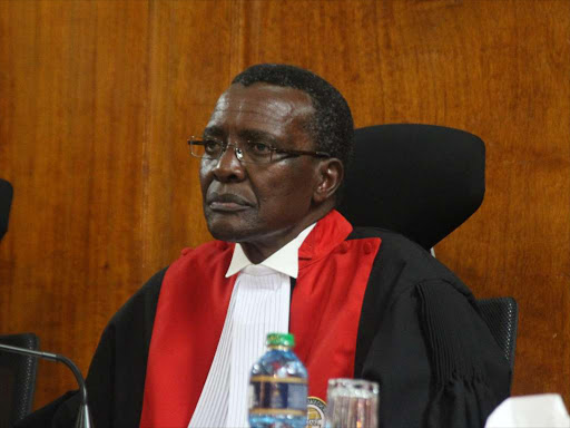 Chief Justice David Maraga at the Supreme court on Wednesday,September 20 when together with other Judges they read a ruling on the nullification of Presidential election. PHOTO/COLLINS KWEYU