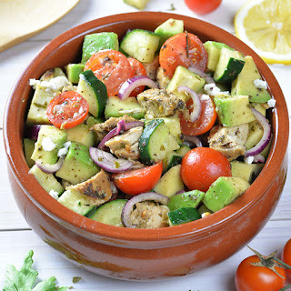 Healthy Chicken, Cucumber, Tomato and Avocado Salad.
