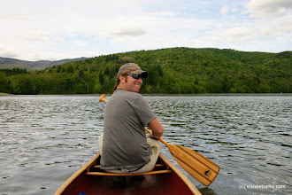 Photo: Happy paddler on Waterbury Reservoir, Little River State Park by Lene Gary