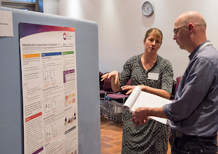 Photo: Nicole van Bergen explaining her poster to A/Prof David Curtis http://www.med.monash.edu.au/cecs/events/2015-tr-symposium.html