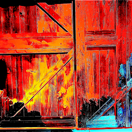 Door on Fire by Edward Gold - Digital Art Things ( digital photography, burnt door, blue door, yellow, black, fire, burning door, digital art, red door,  )