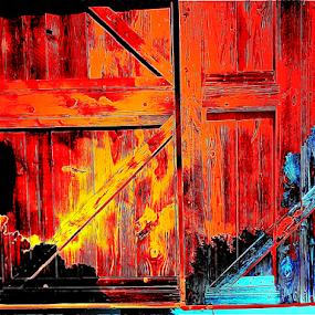 Door on Fire by Edward Gold - Digital Art Things ( digital photography, burnt door, blue door, yellow, black, fire, burning door, digital art, red door,  )