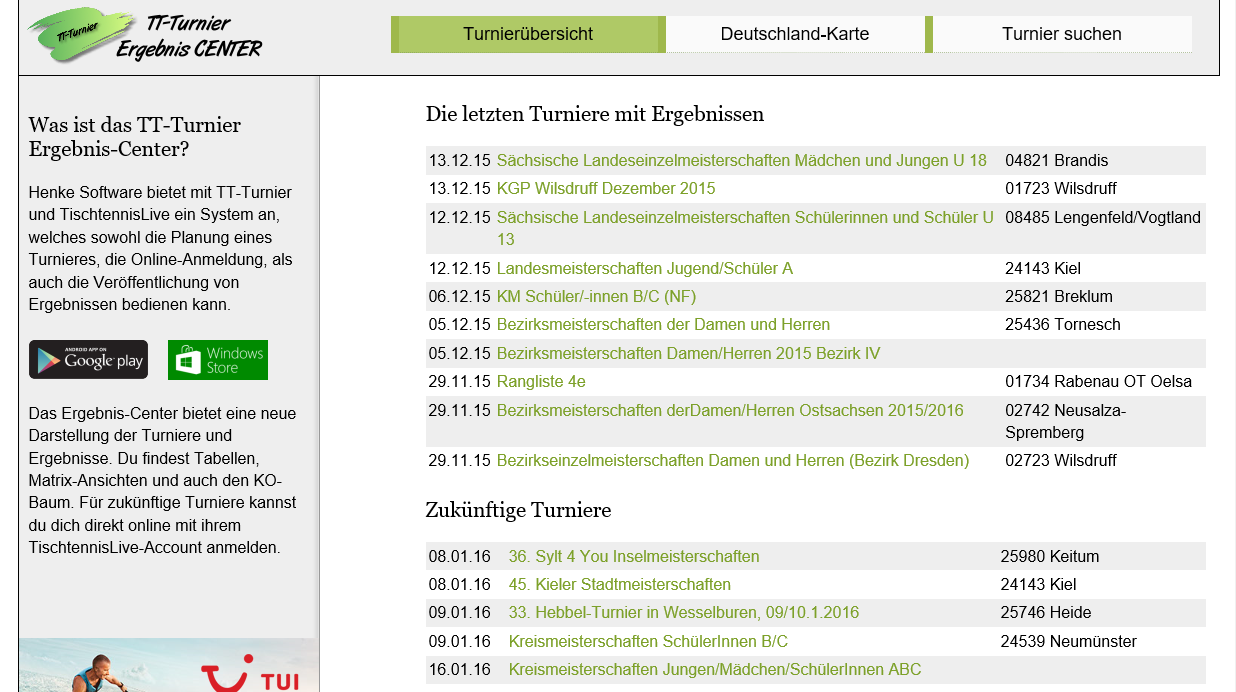 TT-Turnier ErgebnisCenter- screenshot