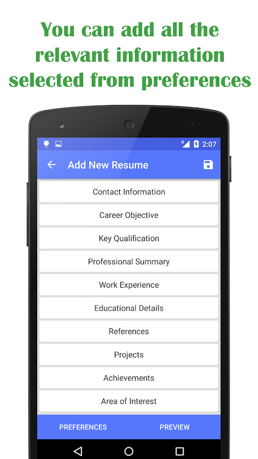 quick resume builder screenshot