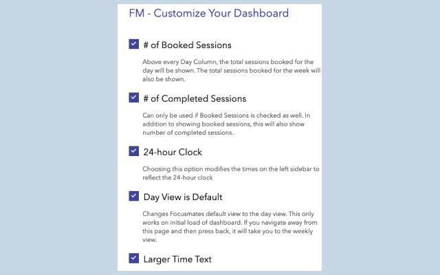 Focusmate - Customize Your Dashboard