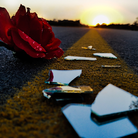 I hope by Darren Bishop - Artistic Objects Still Life ( broken, fine art photography, mirror, road, sunset, sad, fine art, rose, sadness )