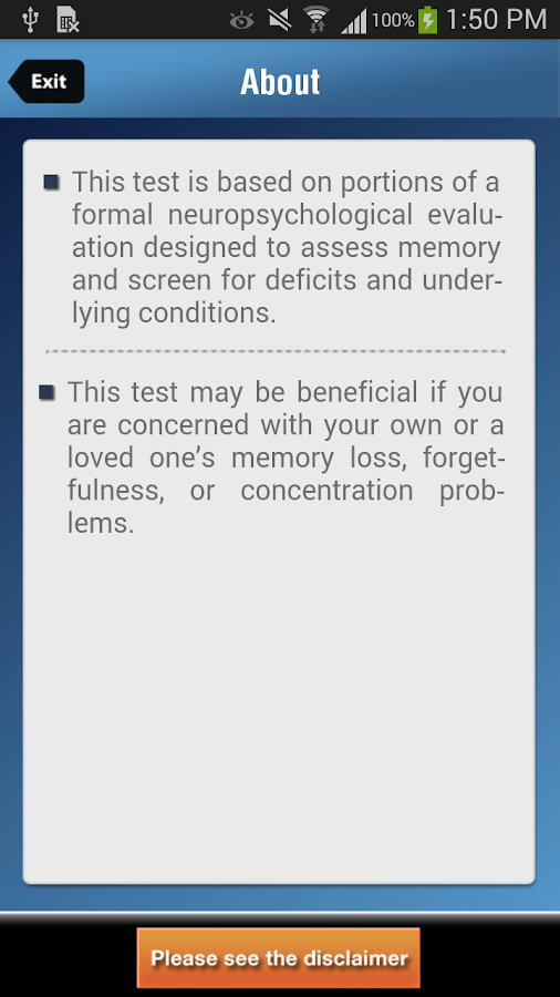 TMC- Memory and Attention Test- screenshot