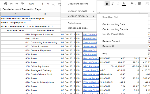 GAccon For XERO G Suite Marketplace - Google spreadsheet accounting template