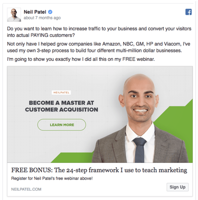 Best Facebook Ad Examples - Neil Patel