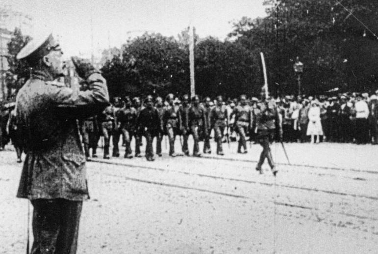 Військовий парад білогвардійців на Софійській площі. Вересень 1919-го