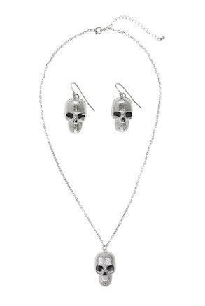 Halsband och örhängen silver, dödskalle