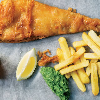 Fish and Chips with Minty Mushy Peas.