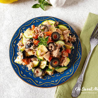 Real Food Mediterranean Tuna Zucchini Salad.