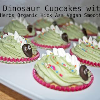 Easy Dinosaur Cupcakes with Indigo Herbs Organic Kick Ass Vegan Smoothie Mix.