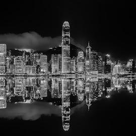 Hong Kong Skyline (B/W version) by Dmitriy Andreyev - Black & White Buildings & Architecture