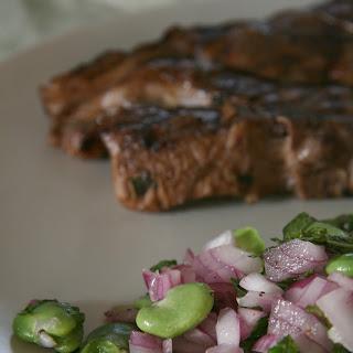Fava Bean Salad with Marinated Lamb Chops