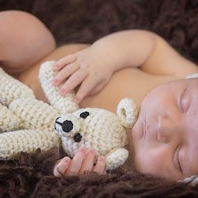 hush little baby by Melissa Marie Gomersall - Babies & Children Babies ( asleep, knitted, bonnet, furr, baby, cute, newborn, hat )