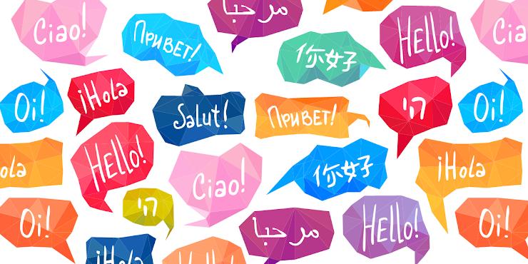 """[Descripción de la imágen: una colección de burbujas de palabras de muchos colores que dicen """"¡Hola!"""" en varios idiomas.]"""