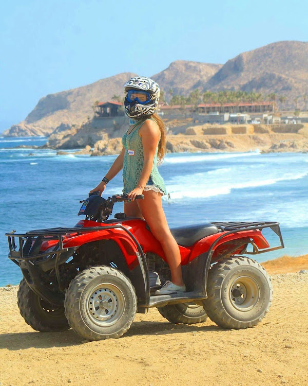 Here I am on my ATV along the beautiful wild coastline of Wild Canyon in Cabo.