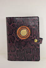 Photo: S4004 ($59.95) Faux Purple Snake embossed  chrome tanned leather for Hardcover Big Book (Medallion Holder and Snap &  Strap)