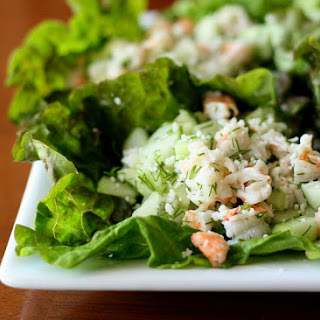 Shrimp and Cucumber Lettuce Wraps with Fresh Dill.