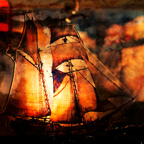 Sailboat and Lighthouse by Lisa Wessels - Digital Art Things ( orange, lighthouse, sails, seascape, sailboat, schooner )