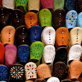 Slippers of many colours by Yvonne Katcher - Artistic Objects Clothing & Accessories ( slippers, multi colours, patters, leather )