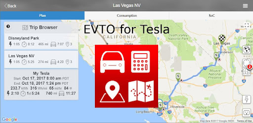 Assists the Tesla automobile operator to efficiently plan trips.