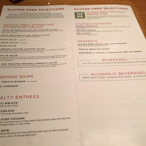 BJ's gluten free menu