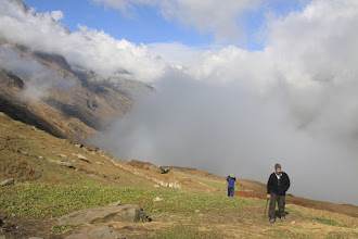 Photo: are we there yet - yes and the clouds are following us - TrekDay04 at Marjhali camp - Sarbvir and Nitin !