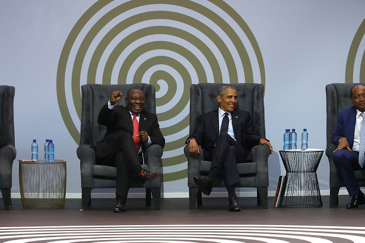 President Cyril Ramaphosa and Barack Obama.