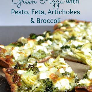 Green Pizza with Pesto, Feta, Artichokes & Broccoli