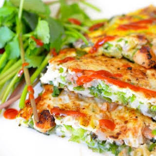Korean Pancake with Green Onions and Seafood (Dongrae Haemul Pajeon).