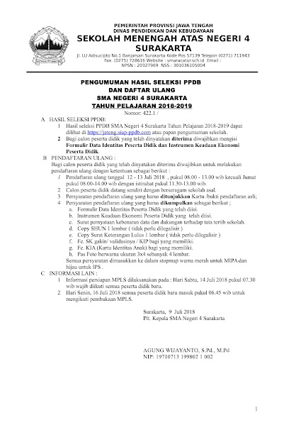 Pengumuman Hasil Seleksi & Daftar Ulang