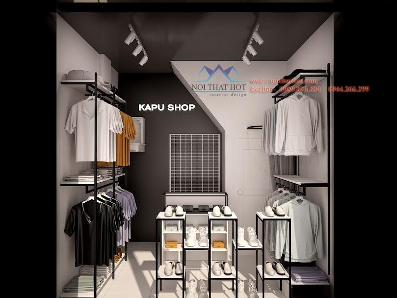 thiết kế shop thời trang nam diện tích nhỏ ấn tượng và nam tính