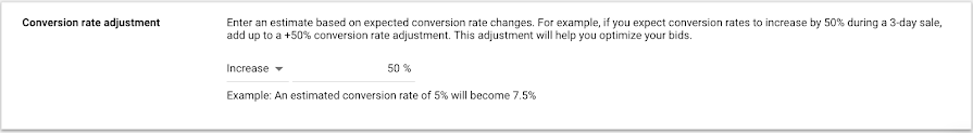Conversion rate adjustment UI