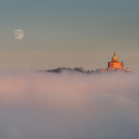 Floating on the clouds by Roberto Melotti - Landscapes Cloud Formations ( clouds, basilica church, moon, roberto melotti, church, sanctuary of the madonna di san luca, sanctuary, madonna di san luca, nikon d810, san luca, basilica, bologna, sunset, floating, cathedral, sunrise, italy )