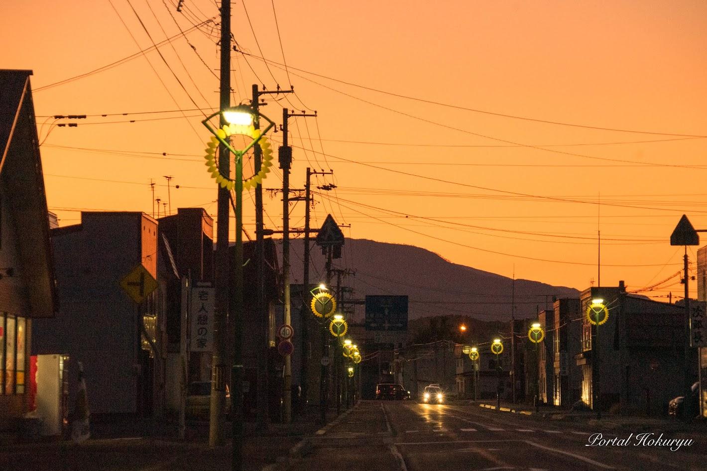 町を見守るひまわり街灯