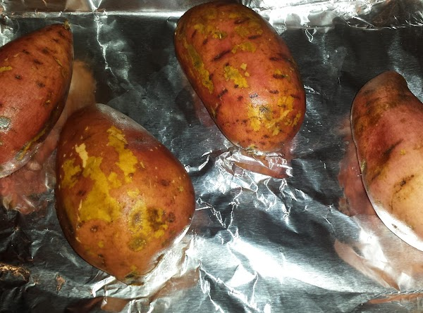 Line a cookie sheet with foil. Place sweet potatoes on lined cookie sheet. Drizzle...