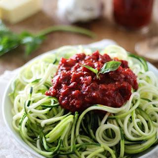 Zucchini Pasta with Beet Marinara Sauce.